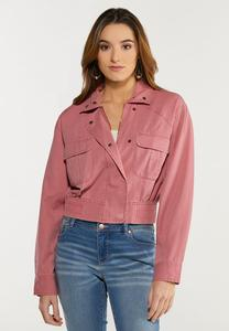 Plus Size Dusty Rose Utility Jacket