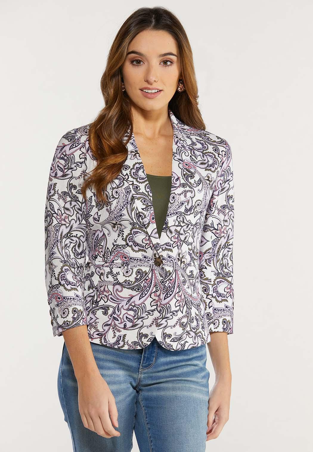 Plus Size Purple Paisley Blazer
