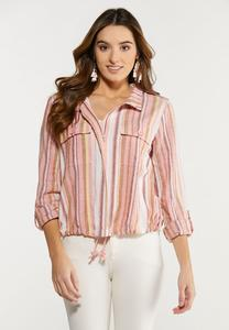Plus Size Stripe Utility Jacket