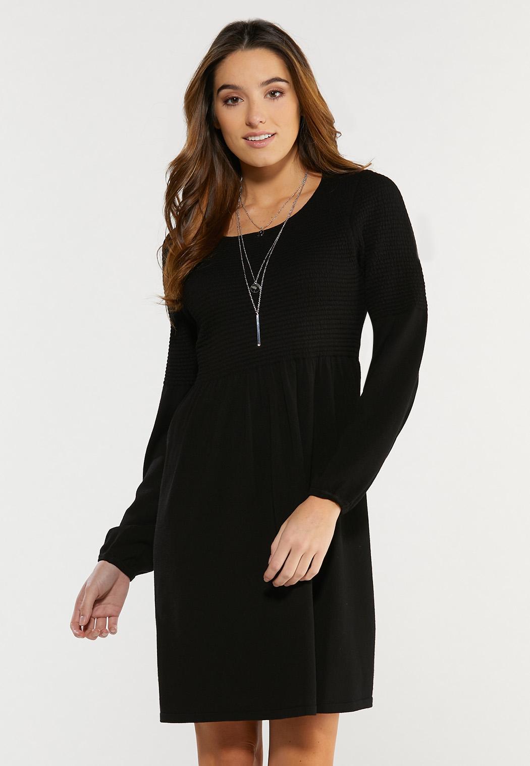 Plus Size Textured Black Babydoll Dress