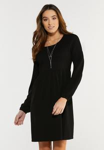 Plus Size Textured Black Babydoll Dress