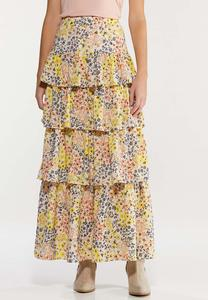 Plus Size Floral Tiered Maxi Skirt