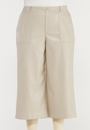Plus Size Cropped Faux Leather Pants
