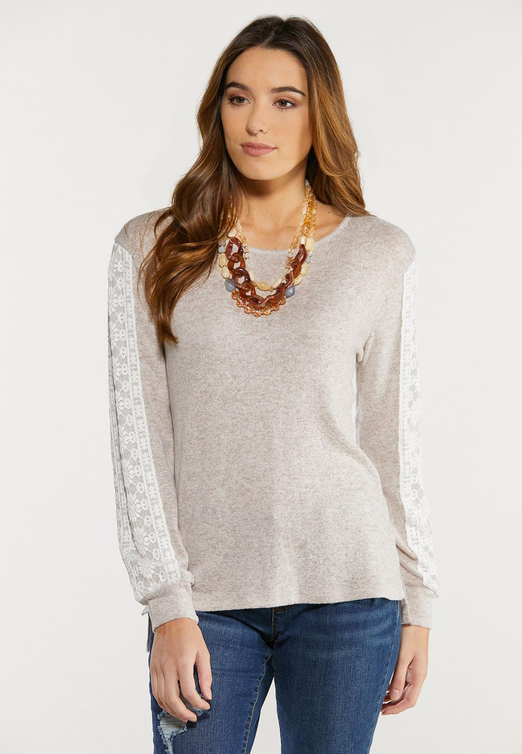Plus Size Oatmeal Lace Sleeve Top