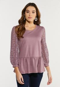 Lavender Lace Peplum Top