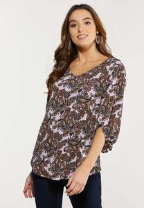 Plus Size Pink Paisley Top