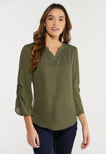 Olive Ruched Sleeve Top