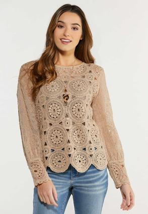 Plus Size Crochet Medallion Top