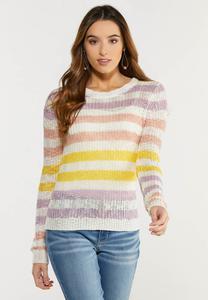 Plus Size Pastel Stripe Sweater
