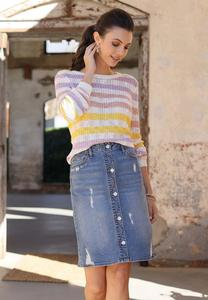 Plus Size Pastel Stripe Sweater