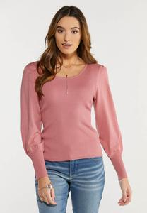 Plus Size Rose Balloon Sleeve Sweater