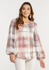 Plus Size Rosy Plaid Balloon Sleeve Top