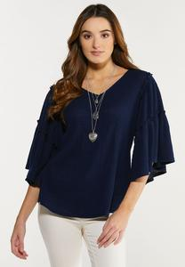 Plus Size Waffle Flutter Sleeve Top