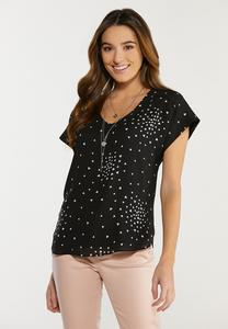 Plus Size Scattered Heart Top
