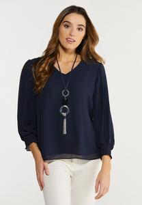 Plus Size Navy Smocked Sleeve Top