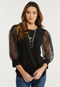 Plus Size Organza Sleeve Top