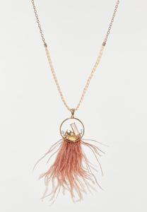 Rose Wispy Feather Pendant Necklace