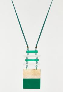 Emerald Wood Pendant Necklace