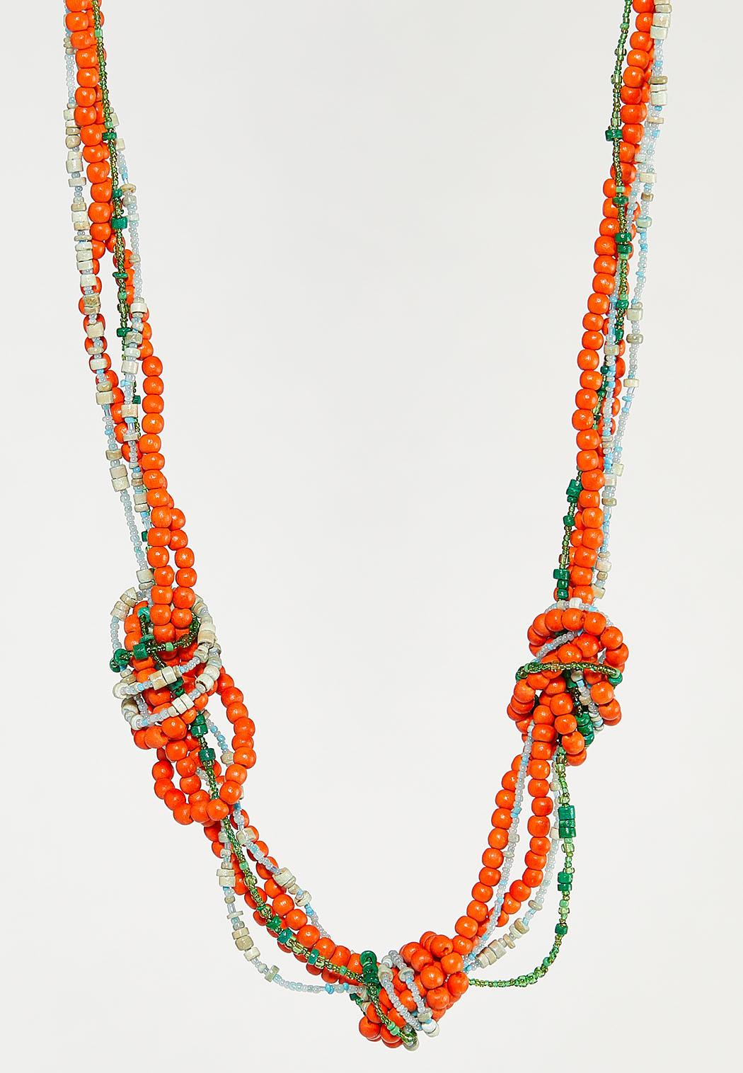 Knotted Multi Wood Bead Necklace