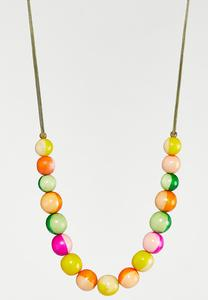 Cheerful Wood Bead Cord Necklace