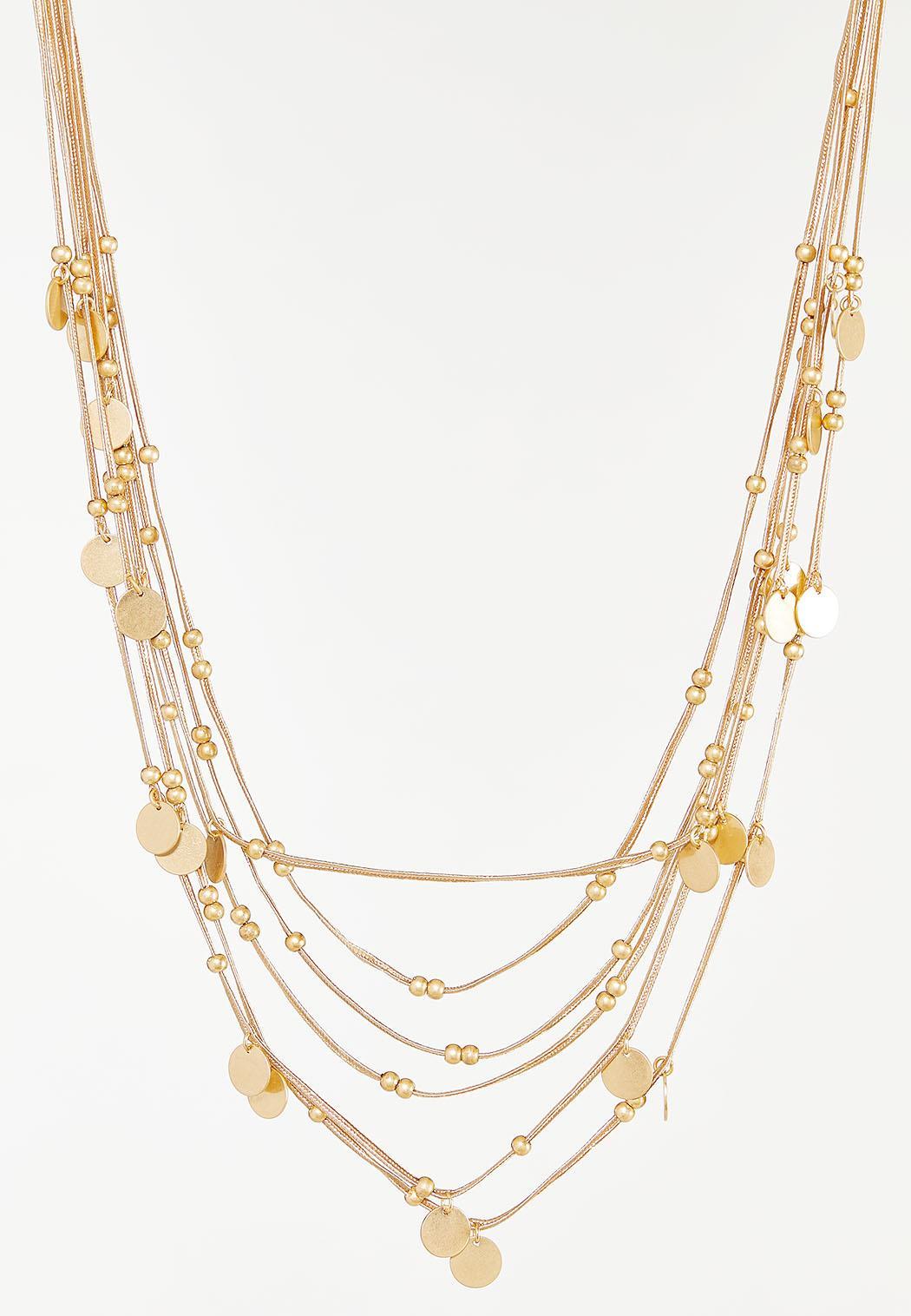 Gold Multi Strand Cord Necklace