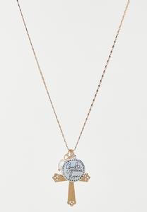 Inspirational Hope Cross Charm Necklace