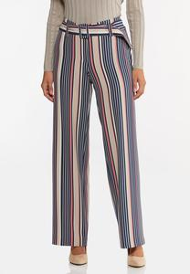 Petite Stripe Belted Wide Leg Pants