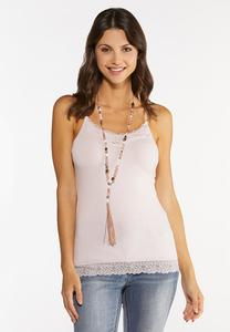 Plus Size Lace Trim Camisole