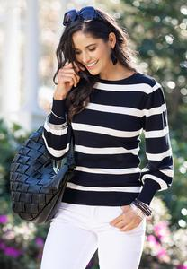 Plus Size Stripe Crew Neck Sweater