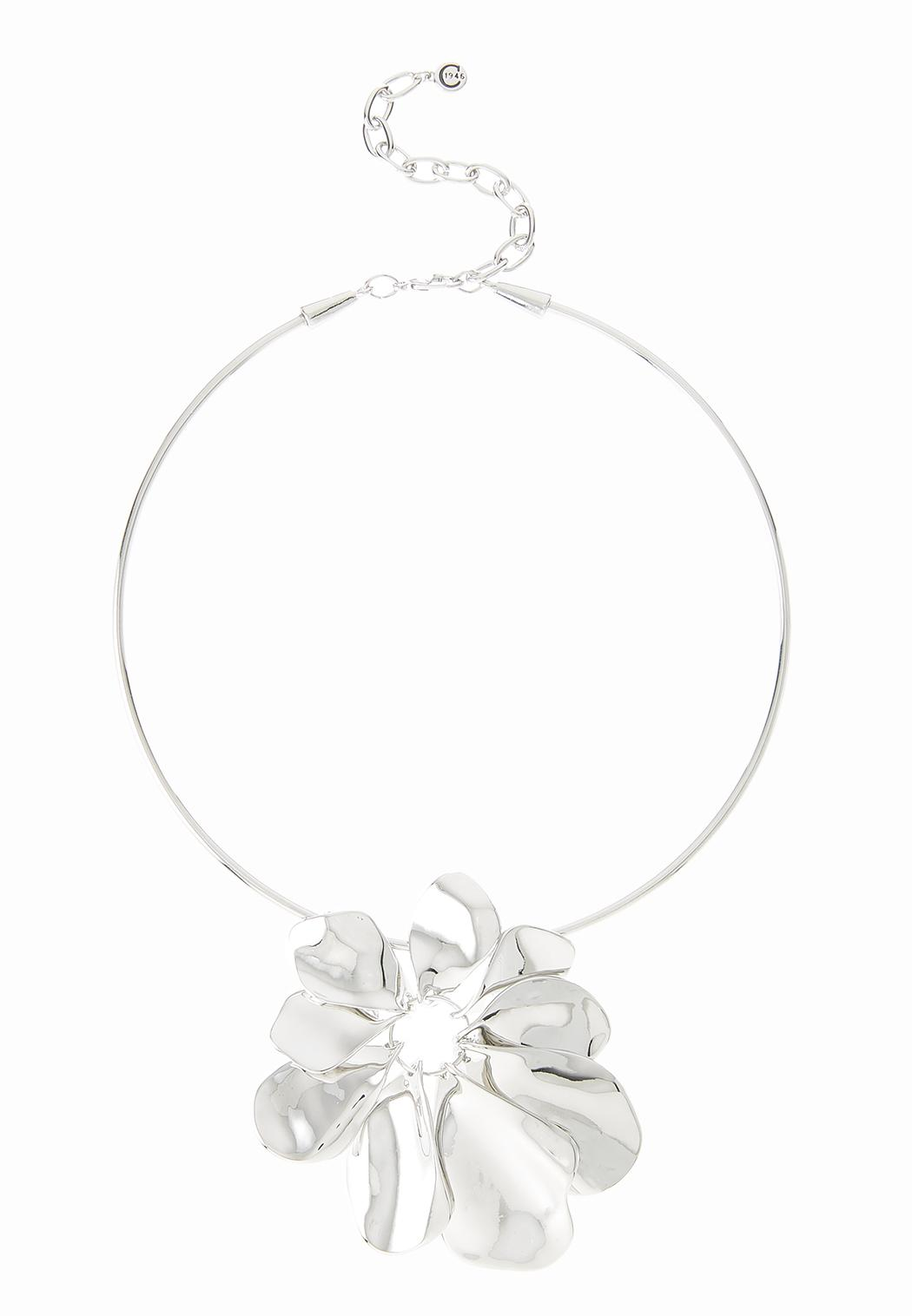 Metal Flower Wire Necklace