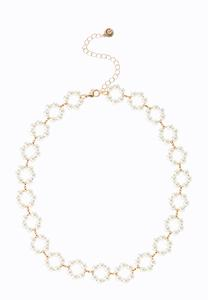 Delicate Pearl Ring Choker Necklace