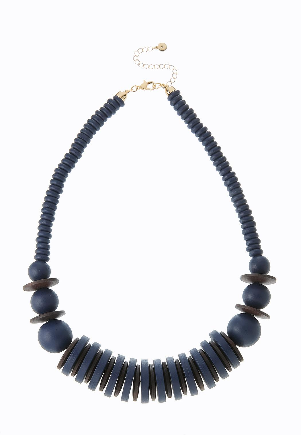 Navy Wood Necklace