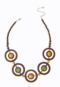 Wooden Saturn Statement Necklace