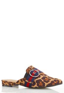 Leopard Buckle Mules