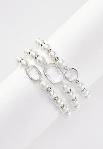 Stone Pearl Stretch Bracelet Set