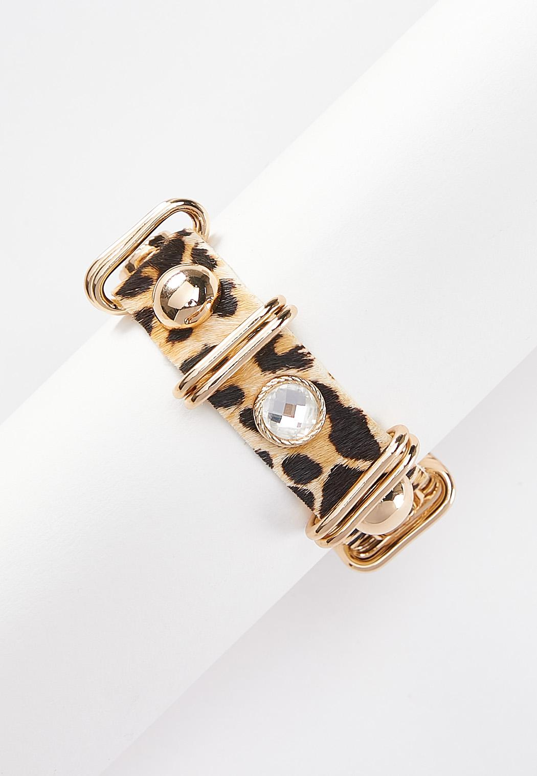 Leopard Faux Fur Snap Bracelet