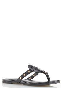 Faux Leather Medallion Sandals