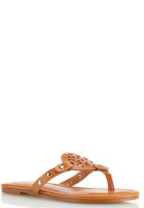 Faux Leather Medallion Sandals
