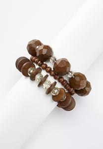 Triple Band Wood Stretch Bracelets
