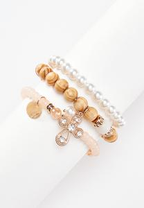 Triple Row Wood Pearl Bracelet Set