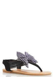 Gingham Bow Slingback Sandals