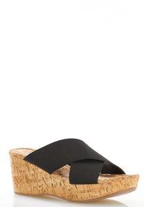 Crossband Cork Wedge Sandals