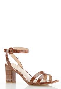 Croc Ankle Strap Heeled Sandals