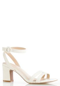 Wide Width Croc Ankle Strap Heeled Sandals
