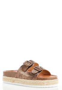 Metallic Buckle Flatform Sandals
