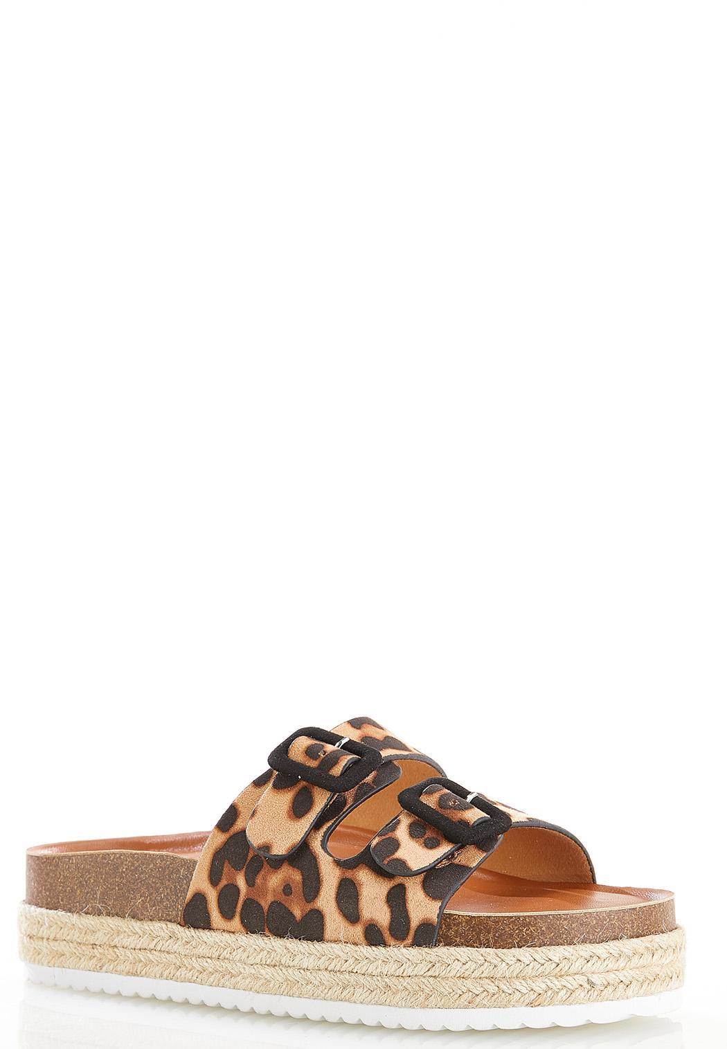 Leopard Buckle Flatform Sandals