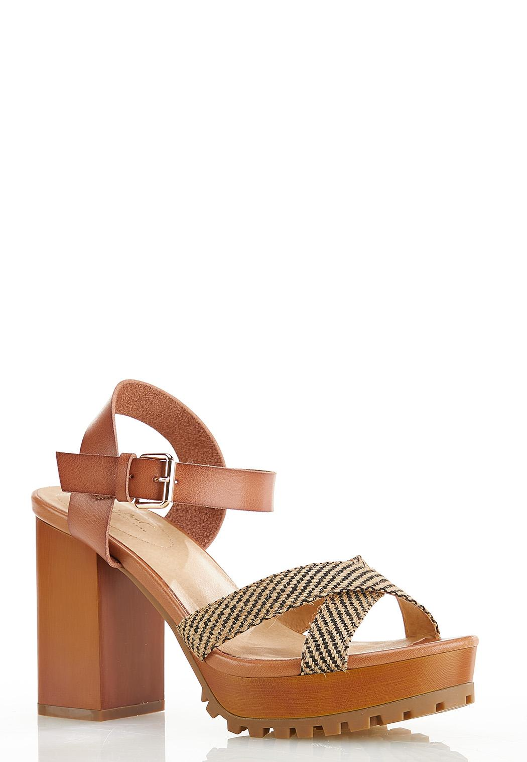 Woven Crossband Platform Sandals