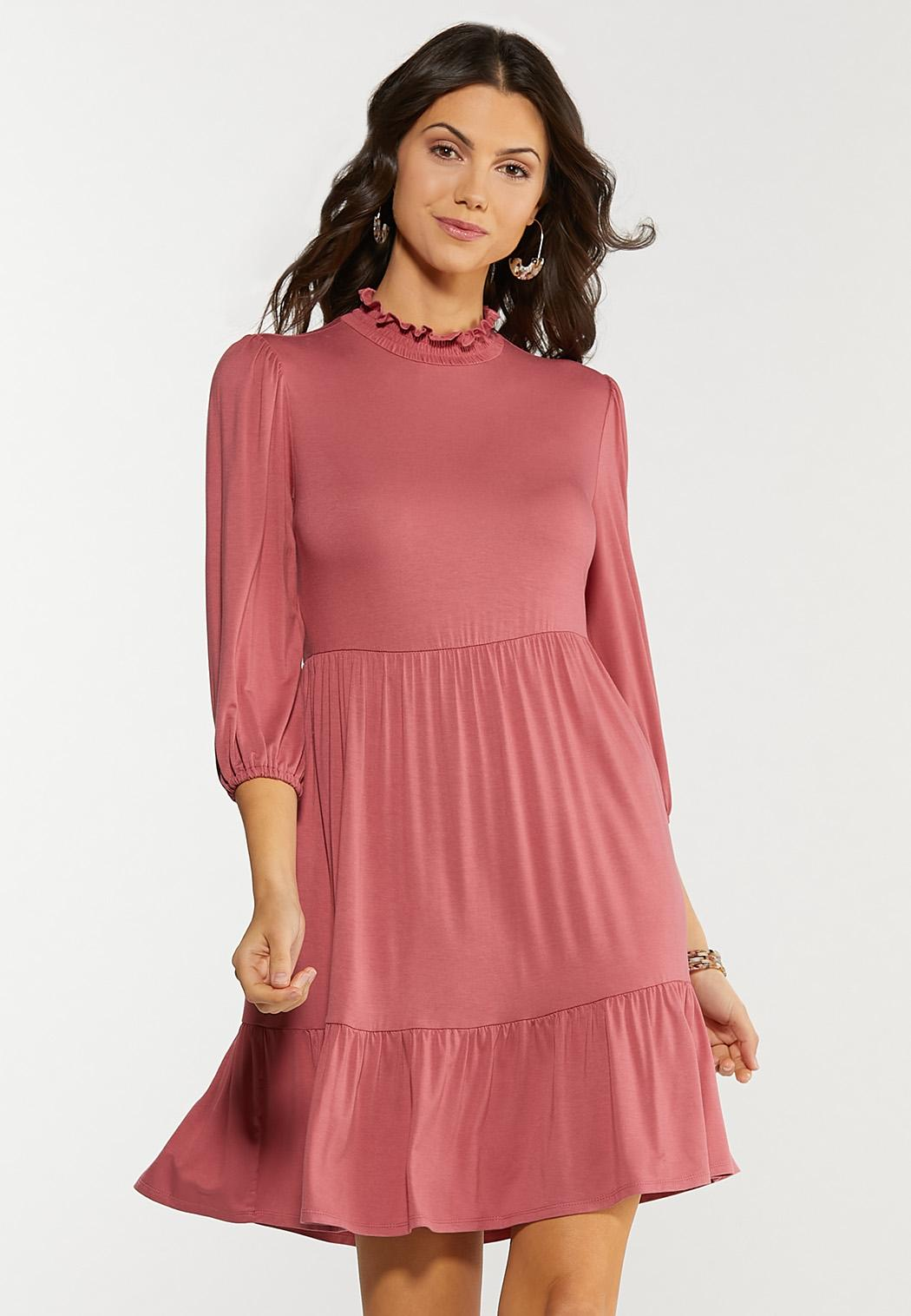Ruffled Mock Neck Babydoll Dress