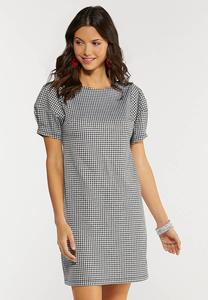 Gingham Balloon Sleeve Dress