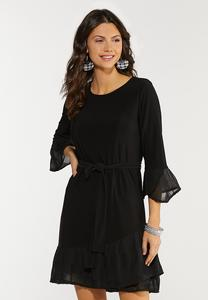 Pleated Chiffon Trim Dress